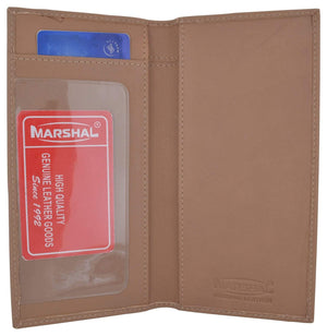 Brand New Hand Crafted Genuine Soft Leather Checkbook Cover Beige - menswallet