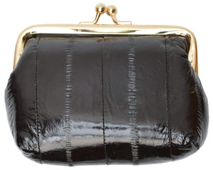 Marshal Clothing, Shoes & Accessories Black Eel skin Leather Coin Purse Snap Closure  E 905