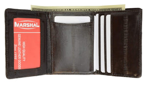 Marshal Clothing, Shoes & Accessories Black Eel Skin Trifold Wallet for Men with Id Window Slim and Sleak E 314