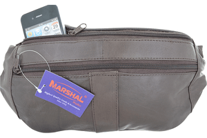 Marshal Clothing, Shoes & Accessories Black Genuine Leather Belt Bag Slim Fanny Pack Hip Pouch with Zippered Compartments 003 (C)