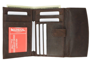 Marshal Clothing, Shoes & Accessories Brown Genuine Leather Ladies Small Wallet and Credit Card Holder with ID Window with Snap Closure 525 CF (C)
