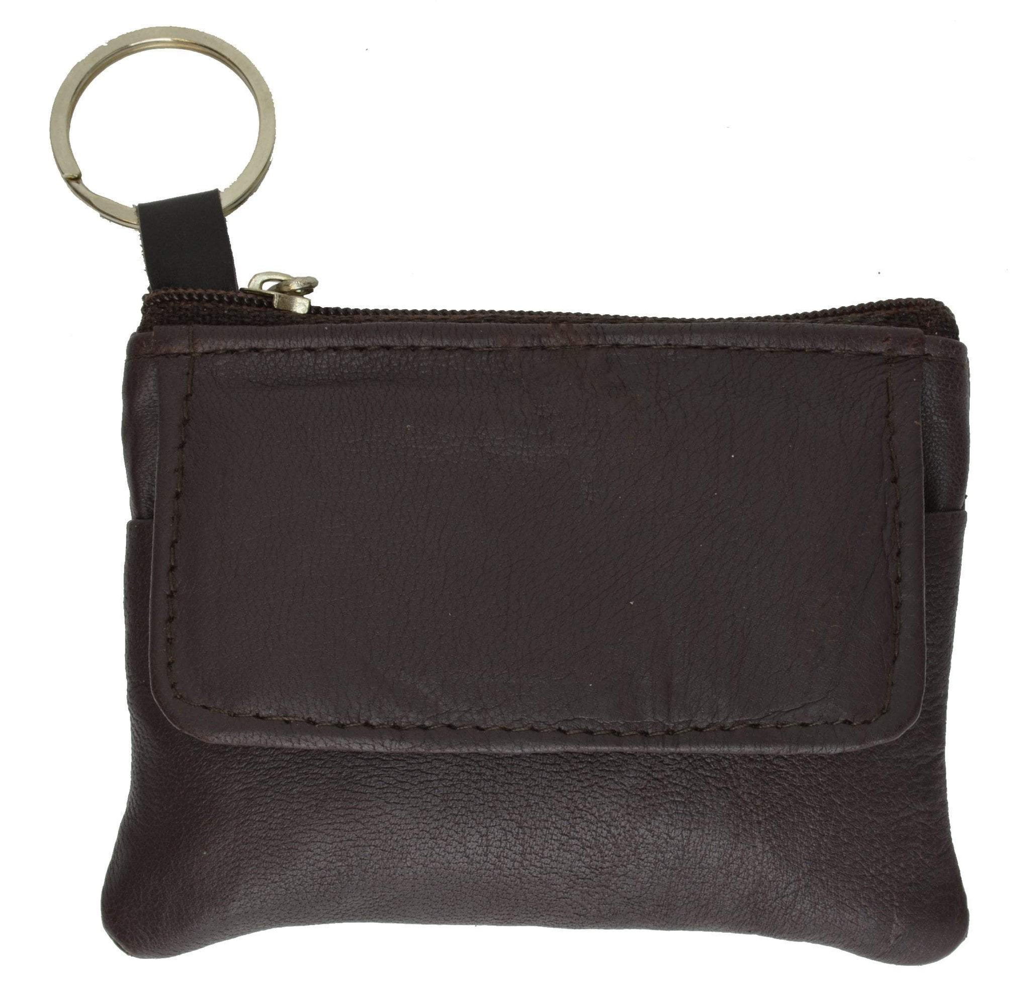 Genuine Leather Sqeez Coin Purse Master Key Ring Pouch Black