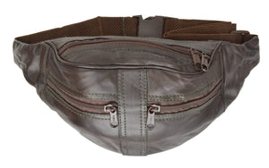 Brown Leather Waist Fanny Pack Belt Bag Pouch Travel Hip Purse - wallets for men's at mens wallet