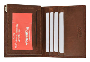 Marshal Clothing, Shoes & Accessories Brown Mens Genuine Leather Bifold Credit Card ID Holder Money Clip Wallet Flap Up 1762 (C)