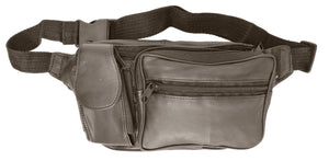 Marshal Clothing, Shoes & Accessories Black Unisex Design Genuine Soft Leather Travel Fanny Pack with Cellphone Pouch 305 (C)