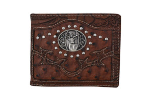 Brown Western Mens Deer Design Bifold Credit Card ID Holder Cowboy Style Wallet W070-38-BR (C) - wallets for men's at mens wallet