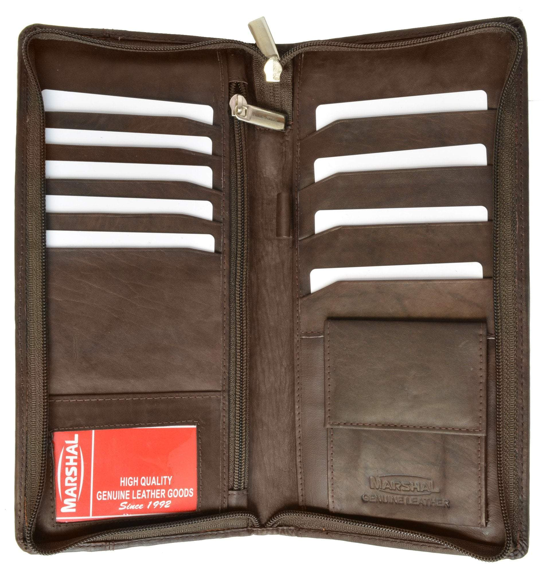 2d39e07bdb36 Zip Around Leather Travel Wallet with Passport and Boarding Pass Holder 663  CF (C)