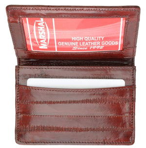 Marshal Clothing, Shoes & Accessories Black Eel Skin Leather Business Credit Card Holder E 324