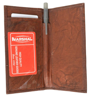 Genuine Leather Bifold Checkbook Cover Wallet with Outside Window 256 CF (C) - menswallet