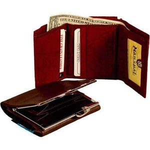 Marshal Clothing, Shoes & Accessories Burgundy Genuine Leather Ladies Wallet Credit Card Holder 902 CF (C)