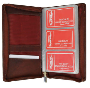 Genuine Leather Zip Around Large Business Credit Card Holder 3670 CF (C) - wallets for men's at mens wallet