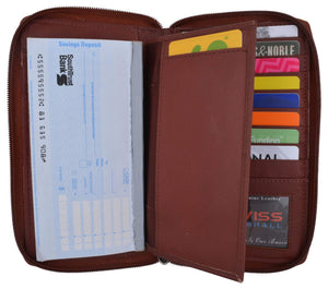 Burgundy Zip around Genuine Leather Checkbook Credit Card ID Holder Wallet Women - wallets for men's at mens wallet