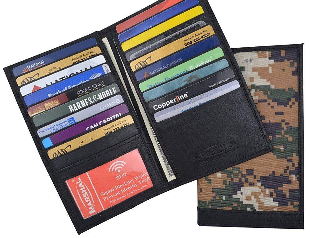 c13ab6c44669 Camouflage Mens RFID Blocking Deluxe Credit Card Case Camo Wallet Leather  Secretary