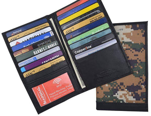 Marshal Clothing, Shoes & Accessories Camouflage Mens RFID Blocking Deluxe Credit Card Case Camo Wallet Leather Secretary