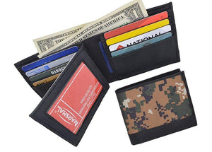 Camouflage RFID Blocking Soft Leather Men's Camo Multi-Card Compact Center Flip ID Card Holder Bifold Military Style Wallet - wallets for men's at mens wallet