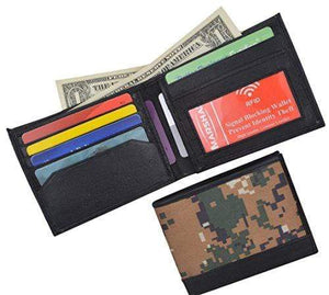 Camouflage RFID Blocking Soft Leather Men's Camo Simple Sim Thin Credit Card ID Holder Bifold Military Style Wallet - wallets for men's at mens wallet