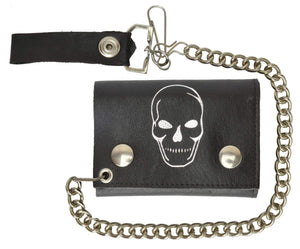 Chain Genuine Leather Trifold Wallet Skull Imprint 946-28 (C) - wallets for men's at mens wallet