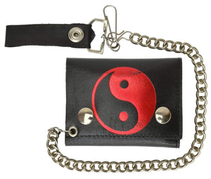 Chain Trifold Genuine Leather Wallet with Red and Black Yin Yang Ball Imprint 946-20 (C) - wallets for men's at mens wallet