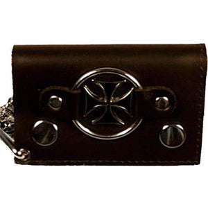 Chopper Cross Genuine Leather Trifold Biker's Wallet ID Card Holder w/ Chain 1046-9 (C) - wallets for men's at mens wallet
