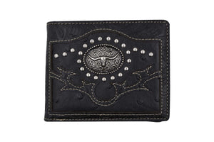 Cowboy Longhorn Design Mens Wallet Western Bifold Style Black W070-14-BK (C) - wallets for men's at mens wallet