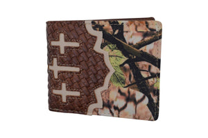 Cowboy Mens Wallet Western Bifold Style Cross Camo Brown W048-CAMO-BR (C) - wallets for men's at mens wallet