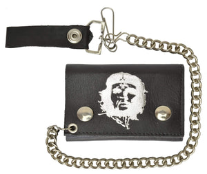 Marshal Clothing, Shoes & Accessories Genuine Leather Biker Chain Trifold Wallet Che Morales Imprint 946-380(C)