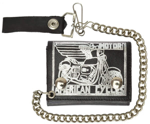 Genuine Leather Biker Chain Wallet Motorcycle Imprint 946-49 (C) - wallets for men's at mens wallet