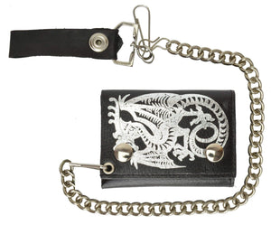 Marshal Clothing, Shoes & Accessories Genuine Leather Biker Trifold Chain Wallet Dragon Imprint 946-19 (C)