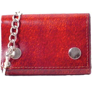 Marshal Clothing, Shoes & Accessories Genuine Leather Biker Trifold Chain Wallet Red 946-6 (C)