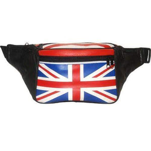 Genuine Leather Britain UK Flag Waist Pouch, Fanny Pack, Unisex Design 966 (C) - wallets for men's at mens wallet