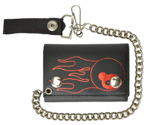 Genuine Leather Chain Trifold Biker Wallet with 8 Ball Long Flames 946-37 (C) - wallets for men's at mens wallet