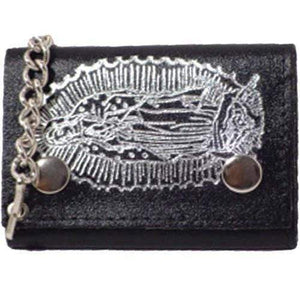 Genuine Leather Chain Trifold Wallet Virgin Mary Imprint 946-8 (C) - wallets for men's at mens wallet