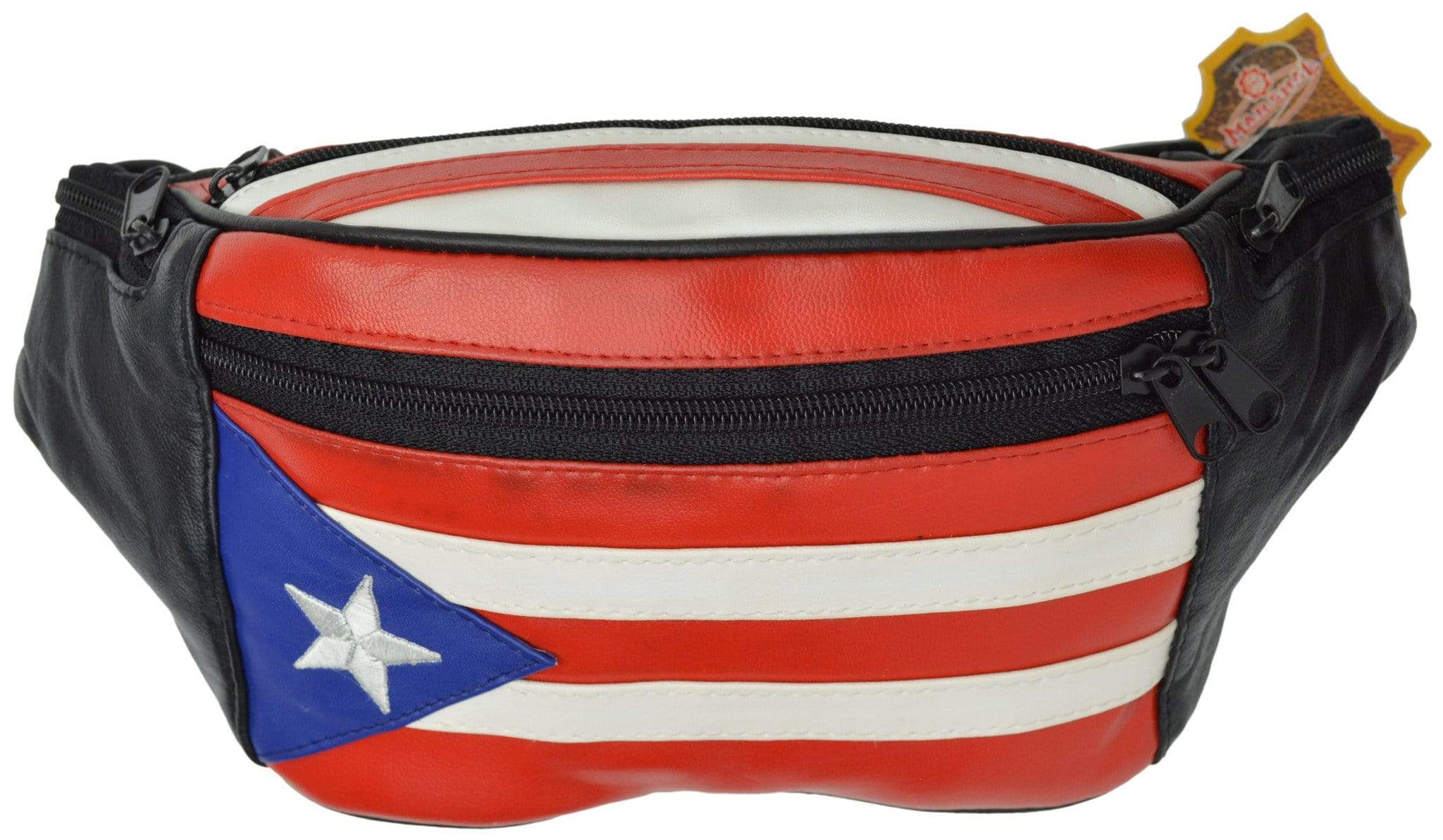 Genuine Leather Puerto Rico Flag Fanny Pack Purse For Men -3311