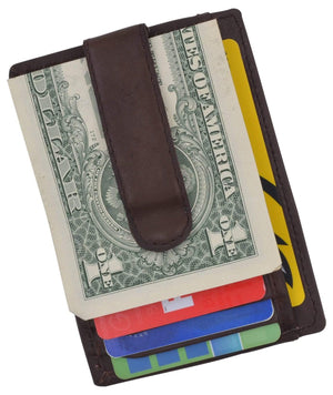 Marshal Clothing, Shoes & Accessories Genuine Leather Slim Credit Card Holder Money Clip Wallet