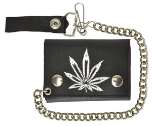 Marshal Clothing, Shoes & Accessories Genuine Leather Trifold Biker Chain Wallet Marijuana Leaf Imprint 946-2 (C)