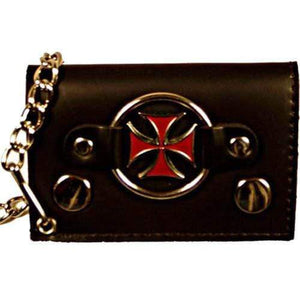 Genuine Leather Trifold Biker's Wallet ID Card Holder w/ Chain Red Chopper Cross 1046-8 (C) - wallets for men's at mens wallet
