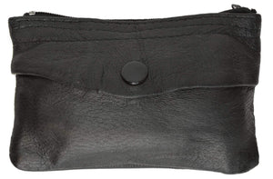Genuine Leather Zippered Change Purse Black 92800 (C) - wallets for men's at mens wallet