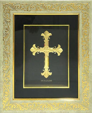 "Marshal Clothing, Shoes & Accessories Gold Leaf Picture in Frames Cross 15""x13"""