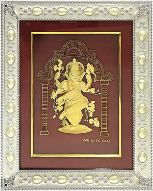 "Marshal Clothing, Shoes & Accessories Gold Leaf Picture in Frames Dancing Ganesh ji 12""x10"""