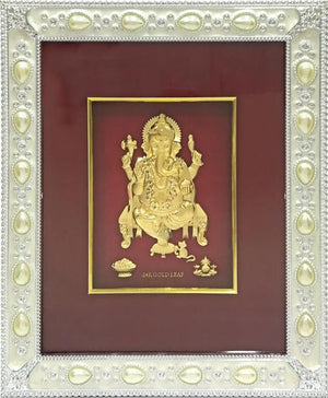 "Marshal Clothing, Shoes & Accessories Gold Leaf Picture in Frames Ganesh 12""x10"""