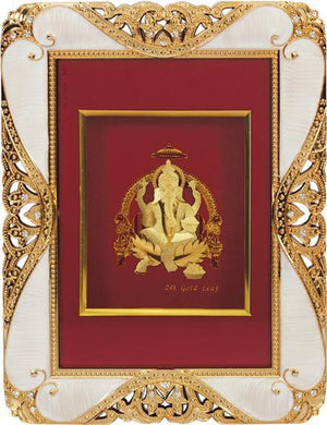 "Marshal Clothing, Shoes & Accessories Gold Leaf Picture in Frames Ganesh ji 9""x7"""
