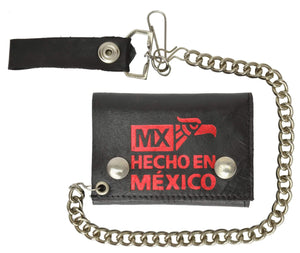 Marshal Clothing, Shoes & Accessories Hecho en Mexico Genuine Leather Trifold Chain Wallet 946-34 (C)