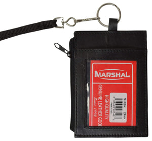 LEATHER ID CARD Badge Holder Neck Pouch Ring Wallet with strap 761 R (C) - wallets for men's at mens wallet
