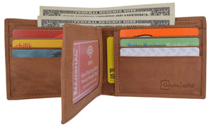 Men's RFID Blocking Hunter Leather Bifold Multi-Card ID Center Flip Wallet - wallets for men's at mens wallet