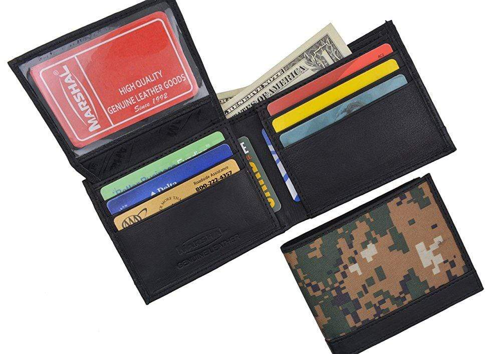 eb75b10c3a8d Men's RFID Blocking Premium Leather Camouflage Bifold Wallet With Fixed  Flip Up ID Window Camo Military Design