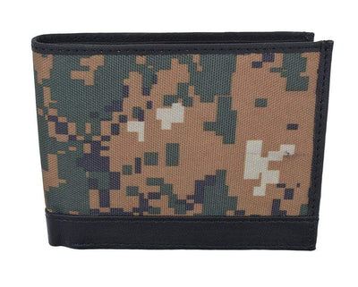 bee888806247 Men's RFID Blocking Premium Leather Camouflage Bifold Wallet With Fixed  Flip Up ID Window Camo Military Design