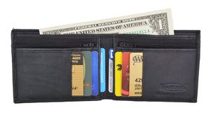 Men's Slim Credit Card Holder Bifold Wallet W/ Zippered Coin Pockets by Swiss Marshal SM-P1618 - wallets for men's at mens wallet