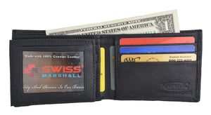 Men's Soft Genuine Leather Removable Double ID Window Flap Credit Card Money Holder Bifold Wallet by Swiss Marshal SW-P1143 - wallets for men's at mens wallet