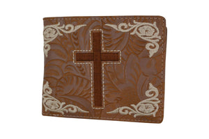 Men's Western Tan Cowboy Cross Design Credit Card ID Holder Bifold Wallet W059-L-BR (C) - wallets for men's at mens wallet