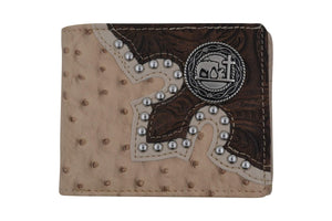 Mens Western Bifold Style Cross Praying Cowboy Ostrich Beige Wallet W041-27-OSTRICH-BG (C) - wallets for men's at mens wallet
